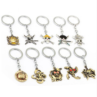 Wholesale MS Jewelry Anime ONE PIECE Keychain Car Charm Key Chain Luffy Zoro Sanji Nami Key Ring Holder Chaveiro Pendant