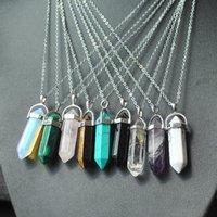 achat en gros de point de quartz collier pendentif-Bijoux à collier Bijoux à cristaux liquides Charmrame à la perle Améthyste Rose Perle à quartz Chakra Point de guérison Verre Pendentifs en pierre naturelle Colliers en cuir