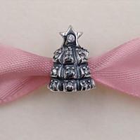 Regalo de Navidad 925 cuentas de plata de ley brillante espumoso árbol de Navidad se adapta a Europa Pandora estilo joyería pulseras collar 791239C
