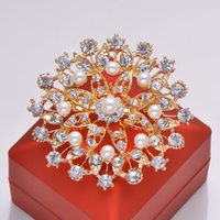 Wholesale L0476 mm diameter rhinestone brooch with pin at back light rose gold plating big brooch