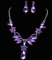 aqua china - Shining Elegant Wedding Bridal Jewelry Prom Silver plated Rhinestone Crystal Birdal Jewelry New Bling necklace and earring set