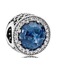 2016 Nouveau 925 Sterling Silver Radiant Coeurs Charme Perle avec Bleu Cristal Cz Fit Européenne Pandora Bijoux Bracelets Colliers Pendentif