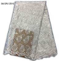Wholesale Latest African Laces Fabrics Embroidered African Guipure French Lace Fabric With Sequined African French D612PL12C