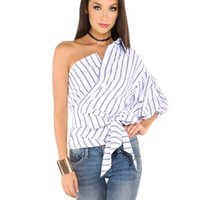 Wholesale Striped Women Blouses One Shoulder V neck Half Puff Sleeve Casual Shirts Women Bow Ruffle Tie Waist Slim Tops HLA001
