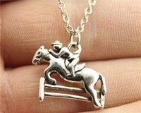 WYSIWYG collar simple de la carrera de caballos del color 20 * 18m m de la plata de la antigüedad de la manera