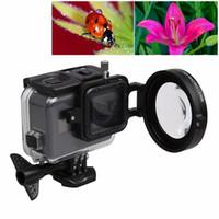 Precio de Cerca filtros-GoPro HERO5 Sport Action Cámara Profesional 58mm 16X Macro Lente Primer plano Filtro Tapa de la lente Base Adaptador Anillo Lente Correa de mano