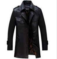 Wholesale Mens leather Coat Parka winter Warm Black Thick Coat Outerwear thicken Jacket overcoat