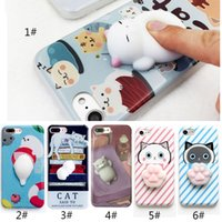 iphone animales cubierta al por mayor-Funda de teléfono para el iPhone 6 6S 6 más 3D lindo Soft Silicona Squishy Cat Fundas para el iPhone 7 7 más la cubierta Animal Sleeping Kitty Coque