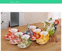 Wholesale 3D Color Enamel Peacock Coffee Mugs Milk Tea Cup For Friend Gifts Set Of Cups Kettle