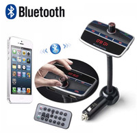 Wholesale Car MP3 Audio Player Bluetooth FM Transmitter Dual USB Ports with Remote Control Wireless LCD Car Kit HandsFree Mic w TF slot