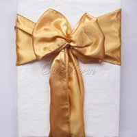 Wholesale Fashion Gold quot x108 quot Satin Chair Cover Sash for Wedding Event Party Supply Professional Decoration Products
