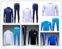 Wholesale 2016 Olympique De Marseille Training Survetement Football Marseille White Blue Soccer Tracksuits OM Maillots Kits