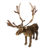 art cardboard - 3d Puzzle Deer Christmas Reindeer Decoration Toy Craft Kids and Adults DIY Cardboard Animal Paper Model Art Children Cool Gift