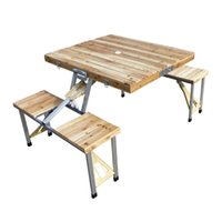 bbq picnic set - Wooden Folding Portable Picnic Outdoor Camping Set Table Chairs BBQ Party