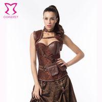 armor corset - Corzzet Black Brocade amp Leather Steel Boned Steampunk Corset Plus Size Burlesque Costumes Armor Bustier Top With Shoulder Bolero
