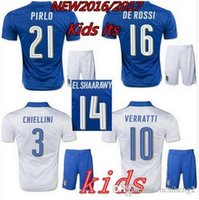 Wholesale 2016 Italy kids Soccer jersey Italia ZAZA INSIGNE EL SHAARAWY PIRLO VERRATTI MARCHISIO Children Football shirt