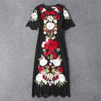 achat en gros de xxl mi robe de veau noir-Vente en gros-2016 nouvelles femmes de piste de la marque de luxe d'été de printemps noir robe sexy daisy marguerite midi mi-mollet robes italiennes CHAUD