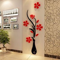 Wholesale DIY Home Room Decor D Vase Flower Tree Wall Sticker Removable Decal x80cm Store