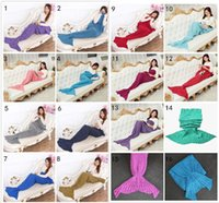 Wholesale 16 Colors Adult and Kids Crochet Mermaid Tail Blankets Sleeping Bags Costume Cocoon Mattress Knit Sofa Blankets Handmade Living Room