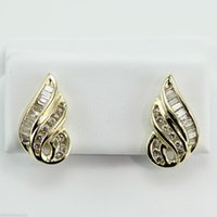baguette diamond earrings - EXTRAVAGANT CT BAGUETTE ROUND DIAMOND CLUSTER EARRINGS K YELLOW GOLD