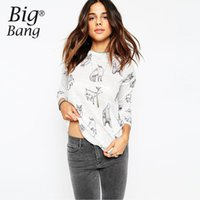 basic tee shirt pattern - Funny Animal Print Fox Deer Pattern Women T shirts New Arrival Casual Long Sleeve T shirt Spring Basic Tee Tops M15121701