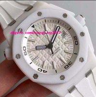 Reloj de pulsera de lujo de alta calidad de la pulsera de goma en el mar del reloj Reloj mecánico del RELOJ del HOMBRE de la pulsera de cerámica blanca
