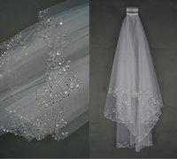al por mayor velo de estilo princesa-Nuevo estilo nupcial velo hecha a mano rayas lentejuelas beige coreano princesa doble tono hilo accesorios de la boda