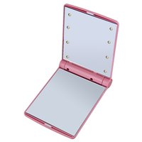 Wholesale 1pc Lady Makeup Cosmetic Folding Portable Compact Pocket Mirror LED Lights Lamps Hot Selling