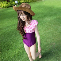 Wholesale Ruffles Girls and Mom One Pieces With Cap Swimwear Cute Babys Elastic Color Blocking Swimwear Lovely Babys Swimming Wear Clothes