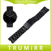 Motorola smartwatch Prix-Vente en gros-22mm bracelet en acier inoxydable montre bracelet en métal pour Smartwatch Motorola Moto 360 1 1ère génération 2014 argent noir