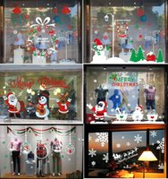 Wholesale 6pcs package styles Christmas Window Stickers Glass Wall Sticker Xmas Decorations for shops homes