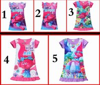 Knee-Length baby silk pajamas - 2017 Summer Baby Girl Dress Ice Silk Cartoon Trolls Kids Pajamas Ruffle Hem Extra Comfy Girls Clothes Children Clothing