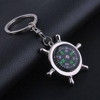 Wholesale New Creative Navigation Helmsman Compass Keychain Zinc Alloy Silver Platen Key Ring Key Chain Fashion Business Gifts