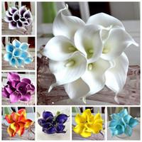 Wedding artificial colors - 15 Colors Vintage Artificial Flowers pieces Mini Purple in White Calla Lily Bouquets for Bridal Wedding Bouquet Decoration Fake Flower