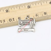 Wholesale Sewing Machine Silver Charms - Wholesale-20pcs Antique Silver Plated Sewing Machine Charms Pendants for Jewelry Making DIY Handmade Craft 18x20mm