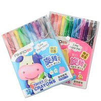 baby safe paint - Rotary Colored Crayon pen Cute Safe Non toxic Kawaii Stationery for Kids Baby Painting School Supplies