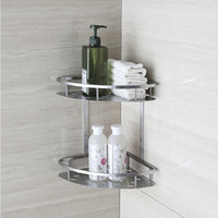 Metal bathroom shower rack - BLH821 Double Tier Brushed Nickel Stainless Steel Wall Bathroom Shelf Shower Caddy Rack Bathroom Accessories Shelves layers