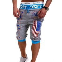 american flag sweats - Mens Summer USA American Flag Shorts Hip Hop Fitness Shorts Harem Sweat Trousers Short Homme Casual Bermuda
