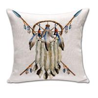 Cheap Indian Dreamcatcher Skull Throw Pillow Cases Cushion Cover linen Cotton Square Pillowcase Home sofa Bed Textiles Decor 240432