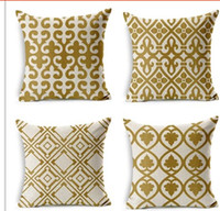 Wholesale Personalized Retro Gold Geometric Printed Pillow Bed Sofa Cushion Home Decorative Throw Pillow Fundas Para Almofadas Cojines