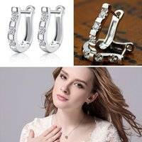 african express - FedEx Express New Fashion Women Sterling Silver Jewelry White Gemstone Stud Hoop Earrings woman girlfriend gift high quality