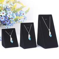 Wholesale Three height High grade velvet trumpet triangle pendant necklace holder jewelry holder jewelry display stand