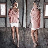 Wholesale 2017 New women sweaters pullovers winter warm sweater V neck Batwing Sleeve colors plus size fashion shirts