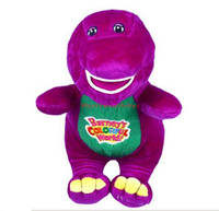 al por mayor i love barney dolls-Nuevo Barney CALIENTE de la venta el dinosaurio los 28cm cantar I LOVE YOU song Purple Plush Soft Toy Doll