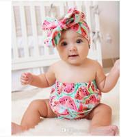 INS diseña las flores determinadas del verano romper + headband del verano de la muchacha de la venta caliente imprimen los sistemas elegantes de los melocotones de la sandía del INS de la muchacha del bebé del mameluco