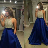 Wholesale Roya Blue Prom Dresses Cheap Halter Neck Satin A line Gold and Black Sequins Beaded Top Floor length Evening Party Gowns Custom Made