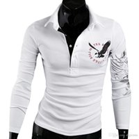 Wholesale S5Q Men s Slim Fit Casual Stylish Eagle Printing Long Sleeve Lapel T shirt Tops AAAGGY