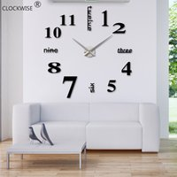Wholesale New Arrival Quartz D Clocks Fashion Watches d Real Big Wall Clock Rushed Mirror Sticker Diy Living Room Decor ZH015