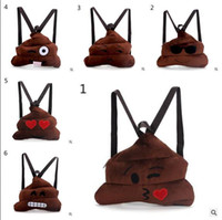 Wholesale Backpacks Emoji Children Poop Expression Kids School Bags Children Plush Backpack Kids Plush Toy Christmas Gift Styles