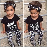 baby pants pack - SY122 The new summer baby girl clothes pack Flower Band T shirt pants baby clothing sets baby girl piece suite